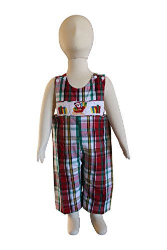 Dana Kids Christmas Holiday Santa Claus Gifts Smocked Plaid Longall Baby Boys 6M-3T (6 Months)