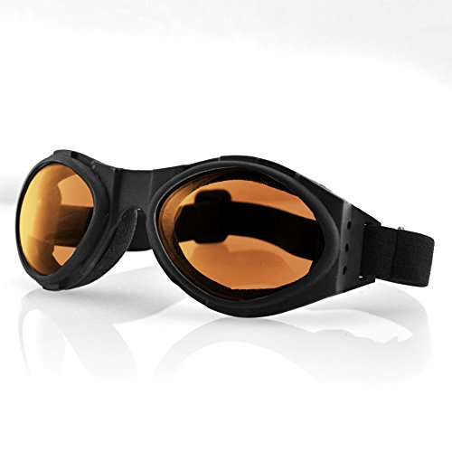 Bobster T4583 Bugeye Goggles, Black Frame/Amber Lens (Womens Motorcycle Sunglasses Bobster)