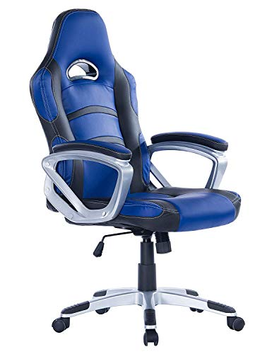 Grey White Mesh Leather - HEALGEN Gaming Chair Executive Office Chair PU Leather Computer Desk Chair (Blue)