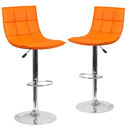 Flash Furniture 2 Pk. Contemporary Orange Quilted Vinyl Adjustable Height Barstool with Chrome Base