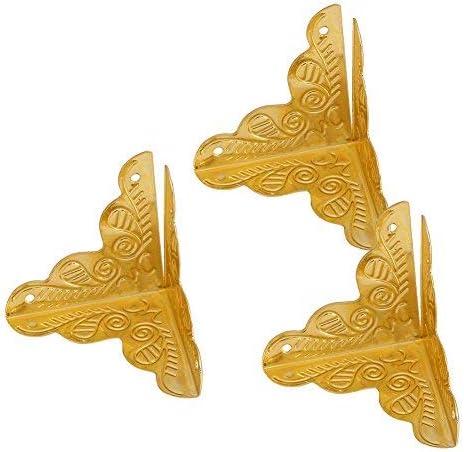 Golden Asixx 12pcs Wooden Box Jewelry Gift Case Corner Decorative Protectors Iron Edge Cover Guard Angle Box Corner Decor Protectors Decorative Corner Protectors