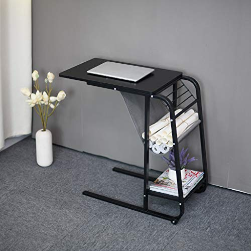 Jeash Small Computer Desk,C Shaped Table Laptop Holder for Sofa Couch and Bed,Side Table, Laptop Stand,Sofa-Side Table, Portable Laptop Computer Desk [Ship from USA Directly] (Black) (Furniture Lift Outdoor)