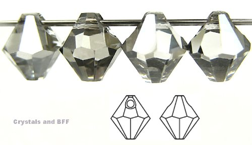 6mm Crystal Silver Shade, Czech Machine Cut Top Drilled Bicone Pendant (6301 Shape), 12 pieces