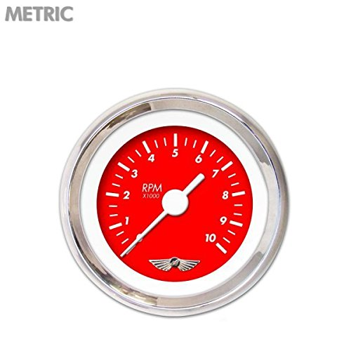 Aurora Instruments 6236 Marker Red Tachometer Gauge with Emblem White Vintage Needles, Chrome Trim Rings, Style Kit Installed