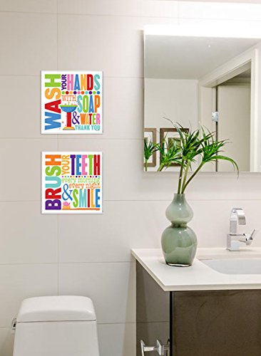 Stupell Home Décor Brush Every Morning Colorful Bathroom Wall Plaque, 12 x 0.5 x 12, Proudly Made in USA