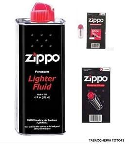 Zippo - Lote de botes de gas para rellenar mecheros (2 unidades, incluye 12 sílex y 2 mechas)