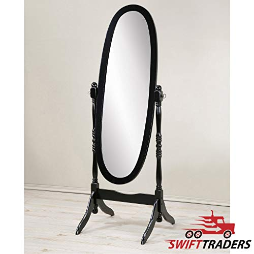 Cg Traditional Style Queen Wooden Floor Cheval Mirror Oval Shaped, Floor Dressing Mirror- Black - Comes with A Free Towel! ()