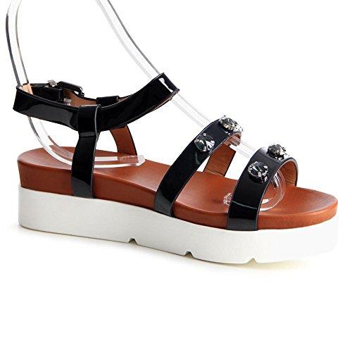 de femme nbsp;parement sandales 763 topschuhe24 Noir Sw16qAnp