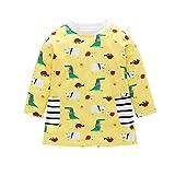 Kehen Kid Little Girl Pajama Set Long Sleeve Dinosaur Nightgowns A-Line Dress Toddler Cotton Sleepwear 1-6 T Yellow 18-24 Months