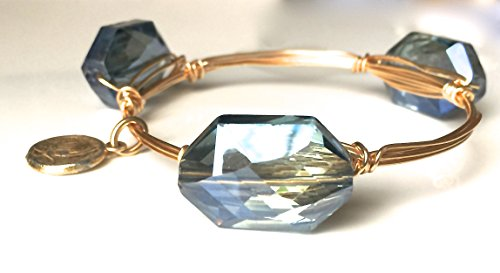 Bangle Bracelet/Crystal/Chunky/Handmade/Wire Wrapped/Blue/Green/Coin/Stackable/Blue/Bold/Faceted/Coin/Gold/Bead/Gift/Charm](Wire Wrapped Bangle Bracelets)