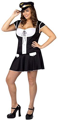 Flight Attendant Fancy Dress (UHC Pilot Layover Flight Attendant Outfit Womens Fancy Dress Plus Size Costume, Plus (16-24))