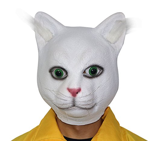 xihazu Halloween Novelty Mask Costume Party Latex Grumpy white cat latex animal mask.,Cat Mask ,Animal Head Mask,Halloween head (Grumpy Cat Halloween Mask)