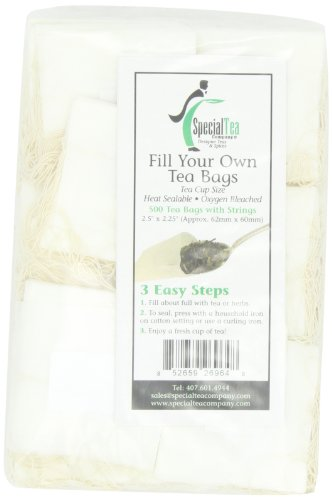 Special Tea Company Empty Tea Bags with Strings, 2.5 Inch x 2.25 Inch, 500 Count (Pack of 2)