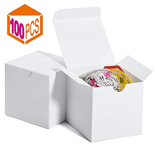 MESHA Gift Boxes 3 x 3 x 3 Inches, Paper White Boxes with Lids for Gifts, Crafting, Cupcake Packaging Boxes (White-100Pcs)