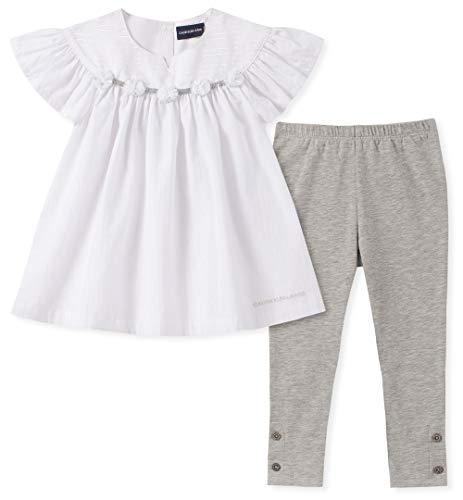 Calvin Klein Girls' Little 2 Pieces Legging Set Pants, White/Pearl, 6X