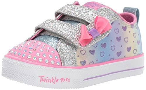 Heart Girls Skechers - Skechers Kids Girls' Shuffle LITE-Sparkly Hearts Sneaker Silver/Multi 7 Medium US Toddler
