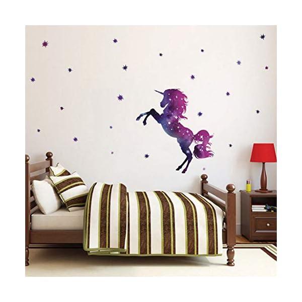 Bamsod Dream Unicorn Wall Stickers Kids Wall Decals Vinyl Art for Girls Boys Bedroom,Home Decor 14''x23.6'' 6