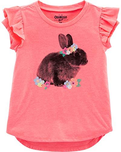 Osh Kosh Girls' Toddler Short-Sleeve Tunic, Orange Bunny, 4T -