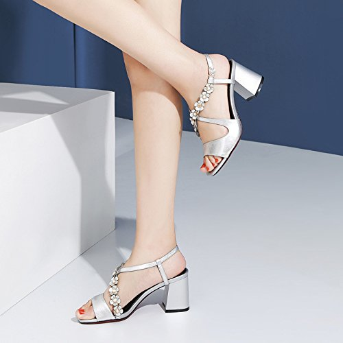 testa Da Scarpe Donna Sandali tacchi 36 tacco quadrata alti Moda 7cm Silver 36 Fiori Fashion AJUNR Alla Wq0gnR4