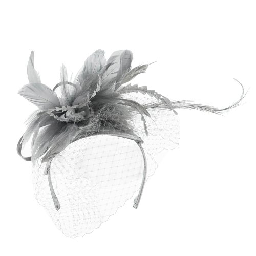 Double Layered Netting Fascinator with Feather - Grey OSFM