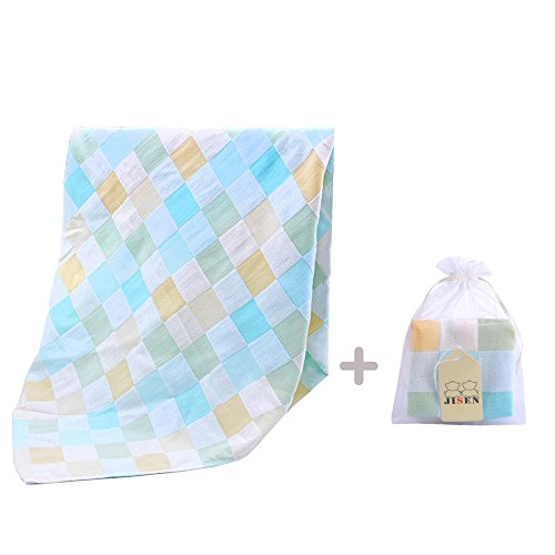 JISEN Newborn 100% Cotton Gauze Muslin Baby Bath Towels,Super Breathable Cool Summer Baby Blanket,with Baby Washcloths,Baby Towel Wipes,Blue Square Style Set With Ribbon Packing,Baby Gifts