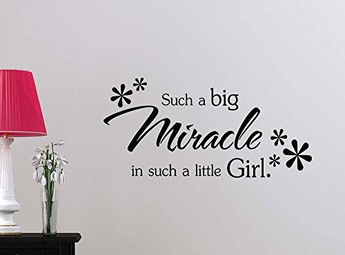 Such a big miracle in such a little girl cute playroom sticker nursery vinyl saying lettering wall art inspirational sign wall quote decor by Simple Expressions Arts