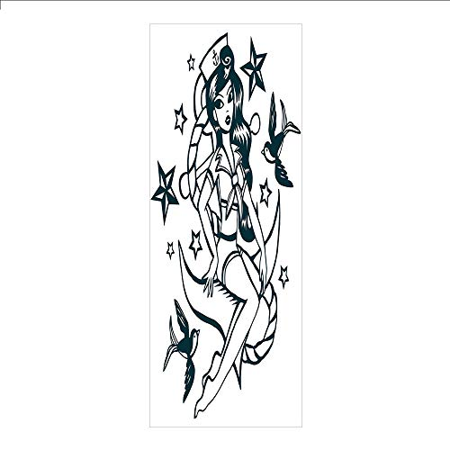 Decorative Privacy Window Film/Pin up Girl Nautical Sailor Suit Surrounded by Swallow Birds Stars Hand Drawn Decorative/No-Glue Self Static Cling for Home Bedroom Bathroom Kitchen Office Decor Dark Bl ()