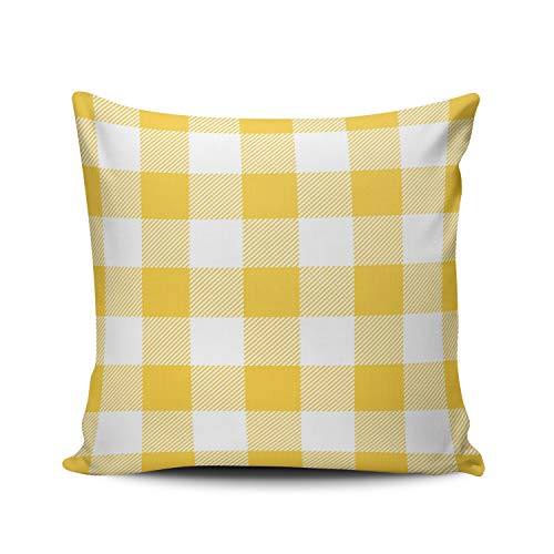 ONGING Decorative Throw Pillow Case White Yellow Preppy Buffalo Plaid Pillowcase Cushion Cover One Side Design Printed Square Size 16x16 - Plaid Pillow Heart