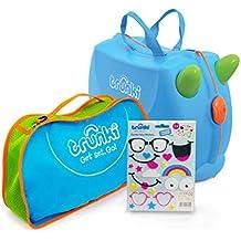 Trunki Original Kids Ride-On Suitcase and Carry-On Luggage Bundle Set, Blue