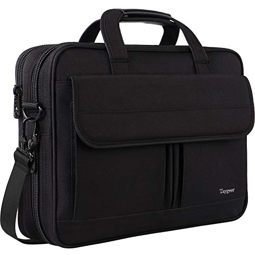 Mens Briefcase, 15.6 Laptop Case for Women, Business Portable Carrying Messenger Bags, 15 Inch Laptop & Tablet Attache Computer Bag Compatible for HP/Lenovo/Asus/Toshiba/Apple, Coal Black