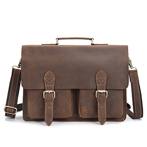 Men's Leather Satchel Briefcase 16'' Laptop Messenger Shoulder Bag Tote 1061 by Neweekend