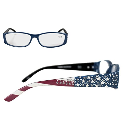 Montana West Reading Glasses American Pride US Flag Western Rhinestones Navy, +2.25