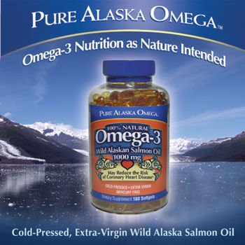 Pur Alaska oméga-3 sauvages de l'Alaska gélules 1000mg Huile de saumon 180-Comte