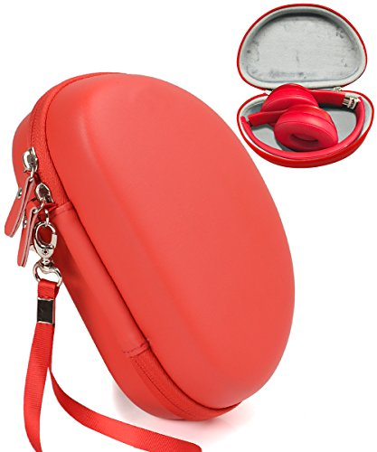 Red Headphones Case for Beats Solo3 Wireless, Solo2 Wired and Solo HD Wired On-Ear by CaseSack, Best Matching in Shape and Color, Detachable Wrist Strap (Red)