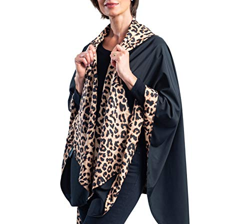 RainCaper Womens Raincoat - Reversible Rainproof Hooded Cape (Black & Leopard)