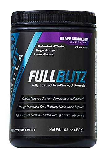 FULLBLITZ by Build Fast Formula | Fully Loaded Pre Workout | Energy Booster plus Nootropic Blend | Nitric Oxide Boosting Supplement for Increased Energy, Focus, and Muscle Pump (Grape Bubblegum)