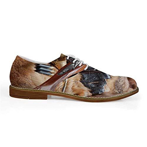 Hunting Decor Stylish Leather Shoes,Hunting Materials on Fur Rifle Ammunition Cartridge Knife Sheath Decorative for Men,US 8