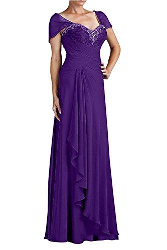 42 Brautmutterkleider Chiffon Kurzarm mia Braut Festlichkleider Langes Elegant Abendkleider mit La Partykleider Spitze Lila A7HYw