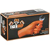 Tiger Grip Orange Superior Grip Disposable Nitrile Gloves, Large Box of 100 - Great for Mechanics, Auto Hobbyists, Industrial & Manual Laborers, Cleaning Work & More EPPCO 08844S