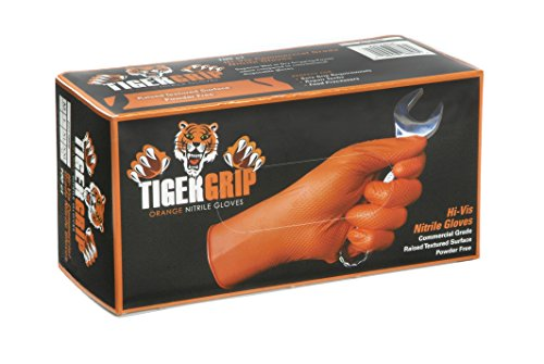 (Tiger Grip Orange Superior Grip Disposable Nitrile Gloves, XL Box of 90 - Great for Mechanics, Auto Hobbyists, Industrial & Manual Laborers, Cleaning Work & More EPPCO 08845S)