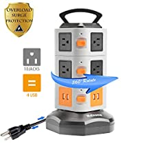 Rdxone 6-Outlet Surge Protector Power Strip Power bar with 4 USB (6ft) for Home Theater, Office