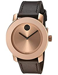 Movado Women's Swiss Quartz Gold-Tone and Leather Automatic Watch, Color:Brown (Model: 3600380)