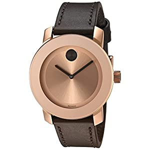 Movado Women's Swiss Quartz Gold-Tone and Leather Watch, Color: Brown (Model: 3600380)