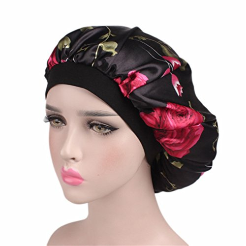 Salon Bonnet (Bonnet Sleeping Cap Chemo Hat - Floral Women Wide Band Salon Satin Sleep Slouch Slouchy For Summer silk hair scarf for Long Curly Natural Tifara Beauty Curling Rods Lottabody Wrap Me Foaming Mousse)