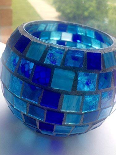 Stained Glass Mosaic Candle Holder, Variety of Blues or ()