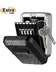 Key Safe Box, Topelek Key Code Box Wall Mounted Larger Capacity 4 Digits Combination, IPX5 Waterproof PPE Protective Cover Key Lock Box Stainless Alloy Key Safe Box for Home, Garage,Outdoor