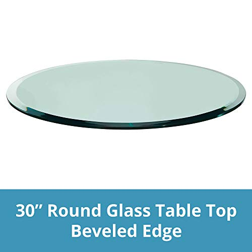TroySys Glass Table Top, Beveled Edge, Annealed Glass, 30