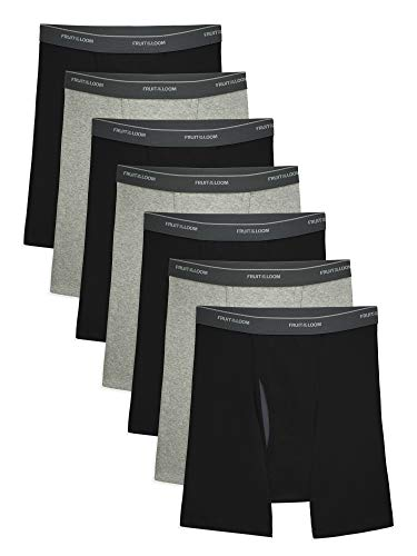Fruit of the Loom Men's CoolZone Boxer Briefs, 7 Pack - Black/Gray, X-Large