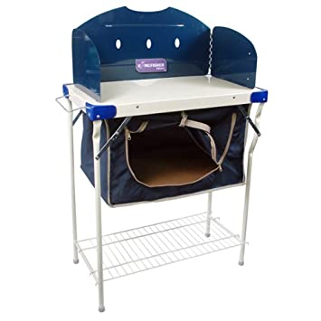 Kingfisher Unisex Camping Kitchen Stove Unit With Pantry Storage, Blue