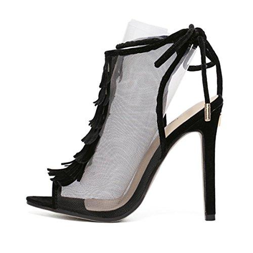 Tendance Romaine Femmes Transparent Talon Haut Fanessy Bohème Fermeture Sandales Ouvert Boucle à d'été Lacets Mode Botte Boot Noir Sexy qwO4dOvT